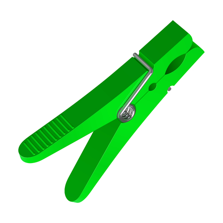 Green plastic clothes clipper  on white background