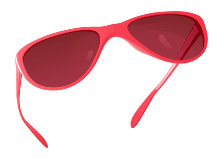pink sunglasses with tinted windows in the plastic frame on the white background Illustration