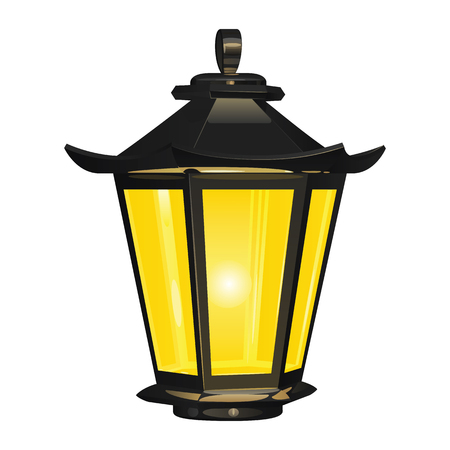 Vintage street light of dark metal, glowing with yellow light, on a white background.