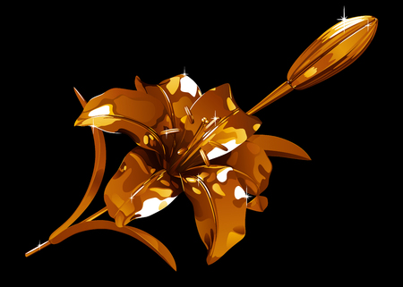 Golden lily flower and bud on a dark background, backlit and glare