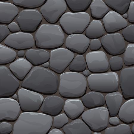Nahtlose Cartoon Textur einer alten Kopfsteinpflaster aus grauem Stein Vektorgrafik