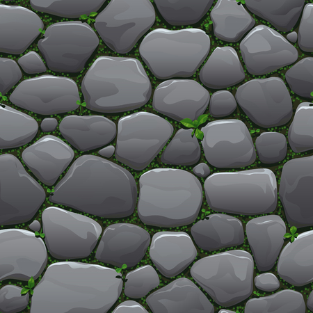 Seamless cartoon texture of an old cobblestone roadway with grass and moss growing between stones