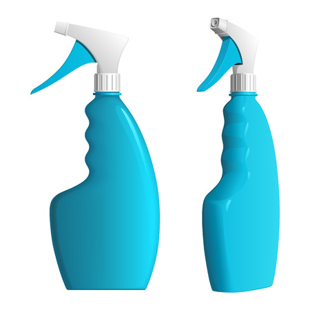 Blue bottle of detergent with spray nozzle, on a white background Ilustrace