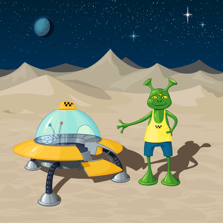 Interplanetary taxi - a flying saucer stands with an open door against a background of a desert alien landscape, next to it stands a humanoid driver Illusztráció