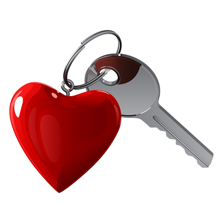 Brilliant metal key with a key in the form of a red heart on a metal ring, on a white background
