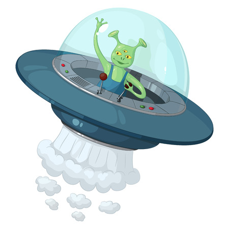 A green three-eyed alien in a flying saucer with a transparent dome holds the control lever and waving his hand in greeting, on a white background