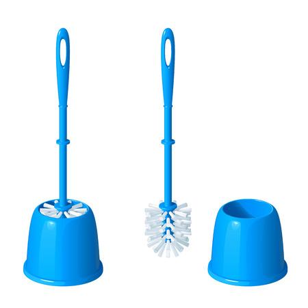 Blauwe toiletborstel in een glas, naast dezelfde borstel, genomen uit een glas, op een witte achtergrond