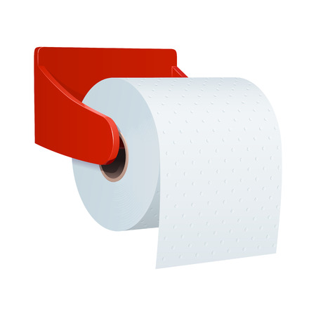 Roll of toilet paper with embossed, in a plastic red wall holder, on a white background