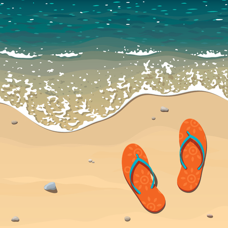 Two orange beach slippers on a sandy beach near the edge of the surf, the sea wave with foam creeps on the shore Illustration