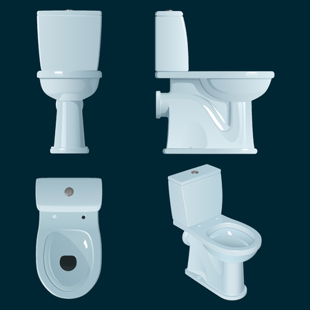 White porcelain toilet bowl on a dark blue background, a general view and three projections side view, top view and front view