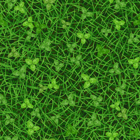 Seamless vector texture of fresh green grass with clover leaves 向量圖像