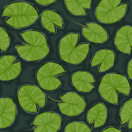 Pond seamless vector texture with white flowering water lilies and green leaves, top view.