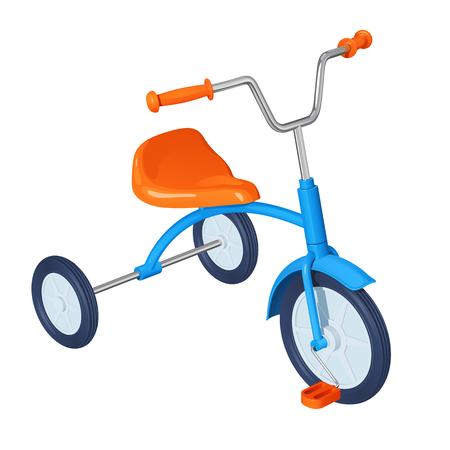 Children's tricycle with blue frame, orange seat, pedals and steering wheel, isolated on white background.