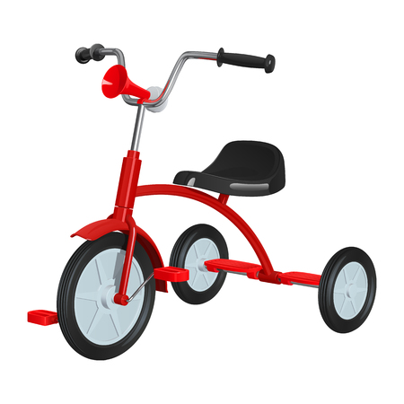Children's red tricycle with black seat and steering wheel, with rubber pneumatic hooters in front, isolated on white background