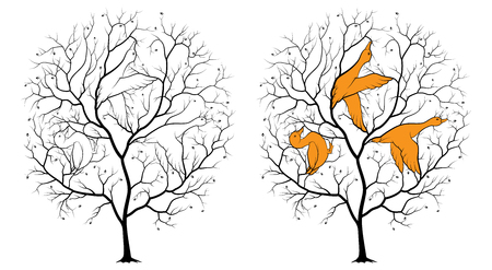 Black silhouette of a tree on a white background, among the branches are hidden contours of three ducks. Riddle with the answer.