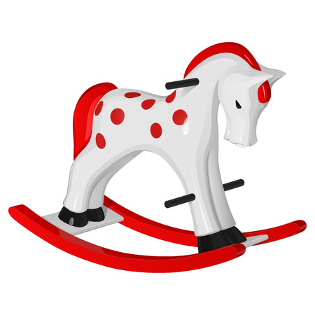 Childrens toy white rocking horse with red runners, mane and tail, with black handles and hooves, on a white background