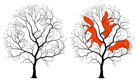 Contours of the three hidden foxes among the branches of a tree, a black silhouette on a white background. Childrens picture is a riddle with solution.