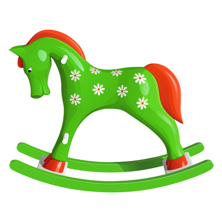 Green childrens rocking horse, painted with white daisies, with orange mane and tail, isolated on white background