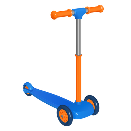 Cartoon vector childrens plastic scooter, orange and blue, isolated on white background Ilustracja