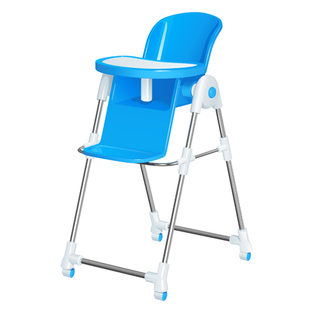 Blue baby highchair for kids feeding, with a removable table, on wheels, isolated on a white background
