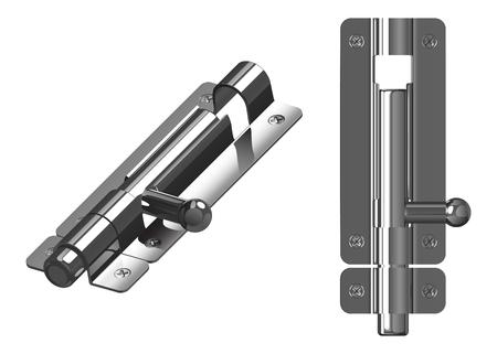 金属メッキボルト、閉じた位置、上のビューと白い背景に隔離された一般的なビュー
