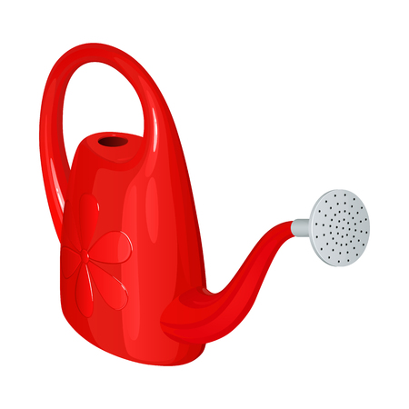 Red plastic watering can with spray nozzle isolated on white background
