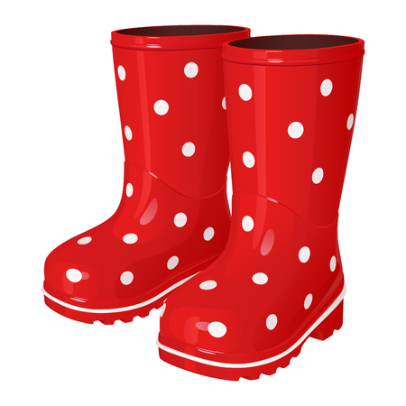 Red children`s rubber boots in a white polka dot, with a corrugated sole, on a white background