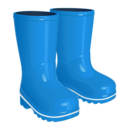 Blue children's rubber boots on thick corrugated soles, isolated on white background, vector illustration
