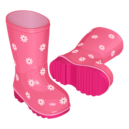 Pink childrens rubber boots for a girl, with a pattern of white flowers, on a corrugated sole, one stands, the other lies. Vector drawing on white background.