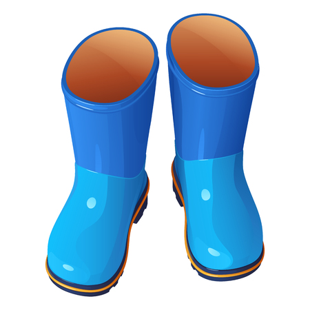 Blue childrens rubber boots on a white background Illustration
