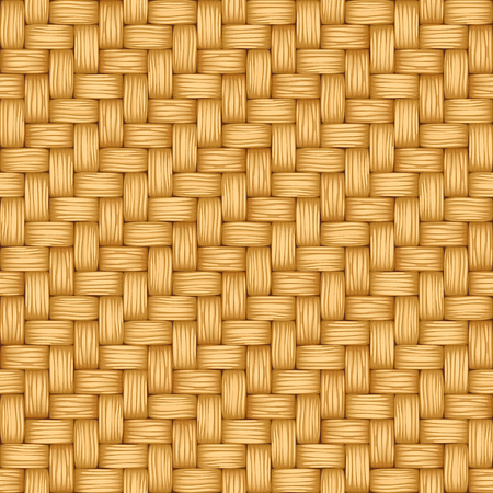 Cartoon vector seamless texture of weaving of light straw.