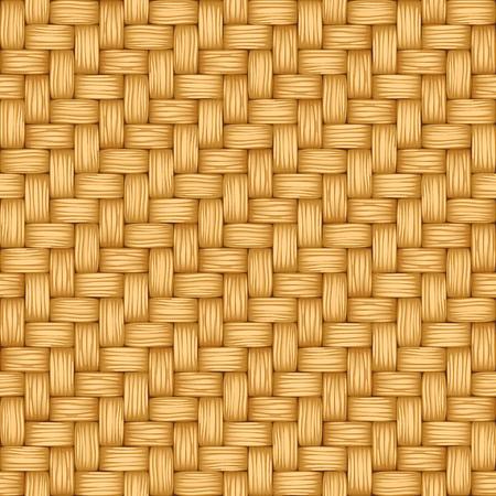 Cartoon vector seamless texture of weaving of light straw.
