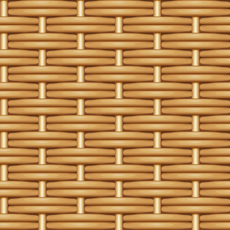 Seamless vector texture of double weaving of brown smooth willow twigs Çizim