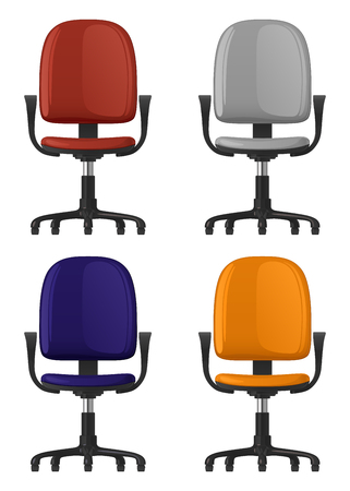 Office chair spinning, on wheels, with backrest and armrests, four color options, front view, white background