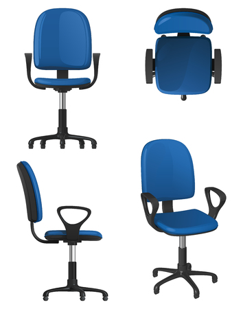 A twisting office chair on wheels, with a blue upholstery seat and backrest, on a white background. Front view, side view, top view and general view.