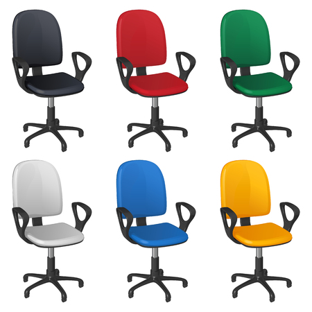 Office revolving wheelchair, six different upholstery colors - black, red, green, white, blue and yellow, on a white background Ilustrace