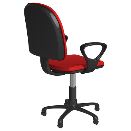Office swivel chair on a pedestal, with wheels, with red upholstery and black plastic armrests, rear view half-turned, on a white background