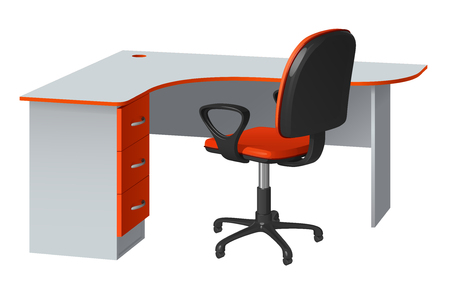 Corner computer desk with cable hole and office chair, orange and gray, on white background Illustration