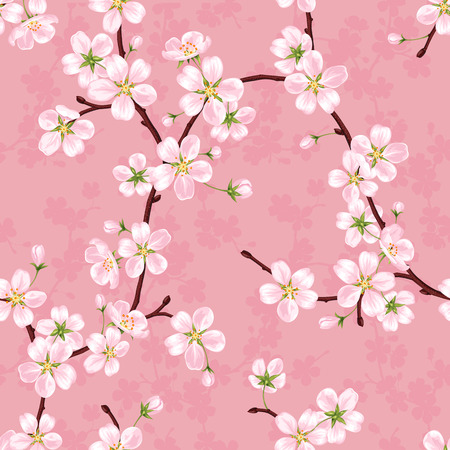 Seamless vector pattern of blossoming apple branches on a pink background 일러스트
