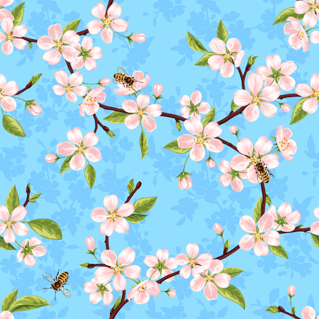 Seamless vector pattern from the branches of a spring blooming apple tree with pink flowers, leaves and bees against the blue sky Illustration