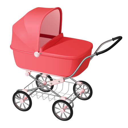 Pink baby carriage - cradle for newborn girl, on white background