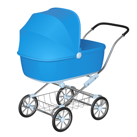 Blue baby carriage - cradle for newborn boy, on white background Illustration