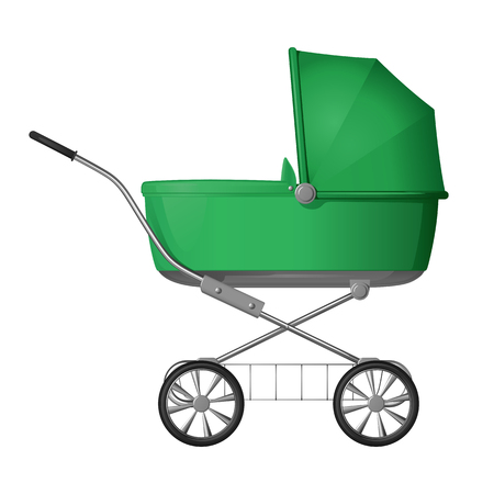 Green baby stroller - cradle for baby, with a raised awning, side view, on a white background