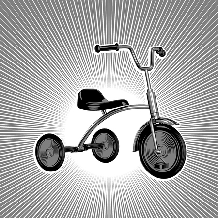 Childrens tricycle. Stylized vintage vectorial black and white pattern on a background of rays.