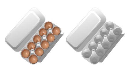 Two cardboard containers for eggs, one empty, the second with brown chicken eggs. Vector drawing on white background.