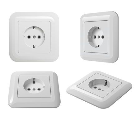 White plastic european electrical socket with ground, white background, in different angles Stock Illustratie