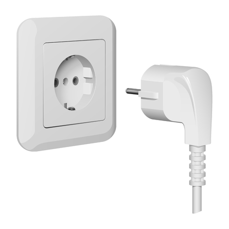 Electric plug and wall outlet, white plastic, vector illustration on white background Stock Illustratie