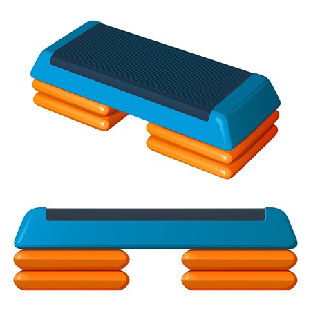 Blue and orange plastic step-platform for aerobics, vector illustration on white background, side view and general view Stock Illustratie