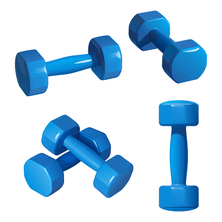 blue dumbbells for fitness, in different positions, on a white background