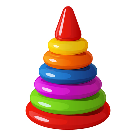 Bright iridescent childrens toy - pyramid of plastic rings with triangular top, vector illustration on white background